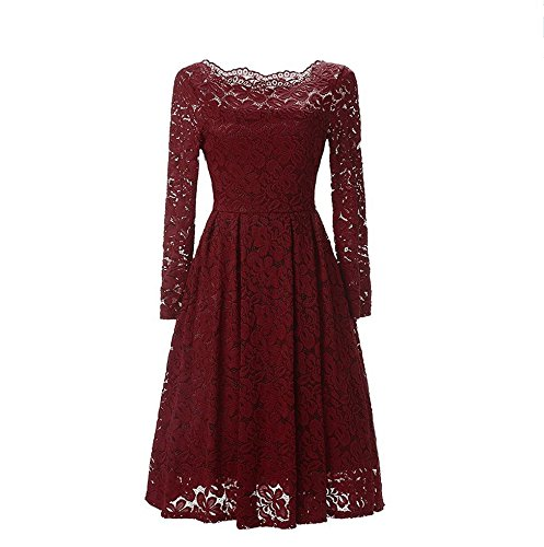 Erica Femmes Occasionnels / Sorties / Soirée Dentelle col horizontal Collier Col Gaine Robe, Sans épaule Manches longues Polyester wine red