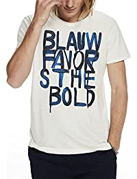 Scotch & Soda Men's Ams Blauw Text Prints Tee with Vintage Wash Effect and Regul T-Shirt