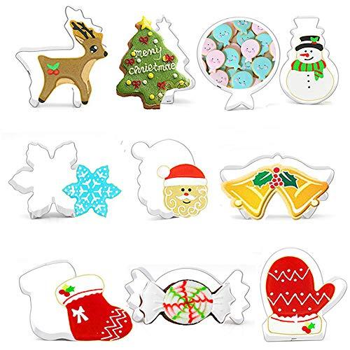 Ausstechformen-Set für Weihnachten, 10 Stück, Weihnachtsbaum, Nikolauskopf, Socken, Handschuhe, Schneemann, Rentier, Schneeflocke, Glocke, Süßigkeiten für Weihnachten Party