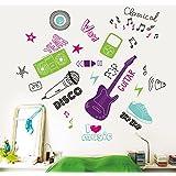 MYVINILO - Vinilo decorativo - Music fan / negro / violeta / verde claro / menta / magenta (80x80cm)