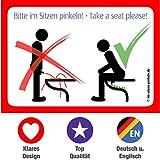 4x Bitte im Sitzen Pinkeln Aufkleber - Toiletten bzw. WC Aufkleber (Originalaufkleber) @immi.de
