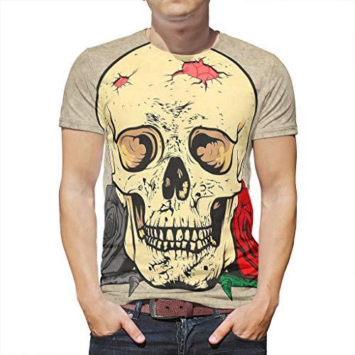 Smakkxx T-Shirt Herren Damen 3D Print Sommer Kurzarm Ärmel Totenkopf Grafik T Shirts Männer Kreativ Beiläufige Rundhals Shirt White Large (Halloween Daniel Tiger)