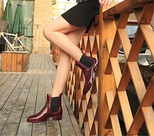 Salto De Frauenknoechel Pvc z Impermeável Estilo Sapatos Vermelhas De Planas Chelsea Qiyun Preto Botas Chuva q7SxPxzwg