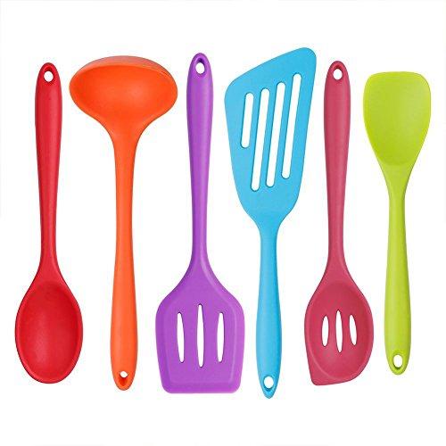 Silikon Küchenhelfer Set,6 Stücke Bunt Antihaftbeschichtung Silikon Kochutensilien,bestehend aus Turner,Schaumlöffel,Schöpfkelle,Löffel,Löffel Spatel,Spoonula,Perfekt Küchenbesteck Set