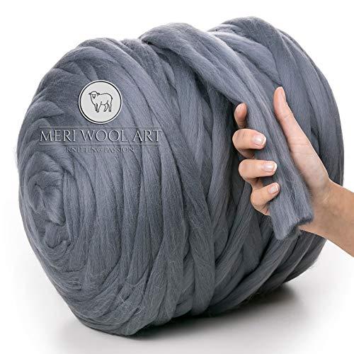 MeriWoolArt 100% Merinowolle Dick  50mm  Riese Wolle Garn Für Armstricken/Fingerstricken Decken Teppiche Schals Nicht - Pantoletten Filzen, Vorspinnen, Spinnen (Dunkelgrau, 500g) -