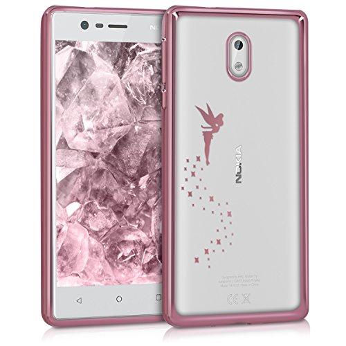 kwmobile Funda para Nokia 3 - Carcasa [Trasera] de [TPU] con diseño de Hada en [Oro Rosa Transparente]