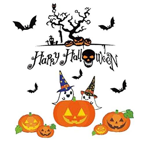 OULII Glücklicher Halloween Aufkleber Kürbis Schläger gespenstische Aufkleber entfernbare Wand-Abziehbild Fenster Aufkleber für Halloween Party Bevorzugungen Dekorationen