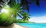 Tapeto Fototapete - Ausblick Paradies Strand Palmen Tropisch - Vlies 312 x 219 cm (Breite x Höhe) - Wandbild Sonne