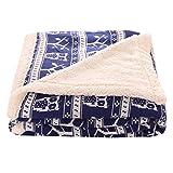 Unimall Kuschelige Lammfelloptik Wohndecke Kuscheldecke mit Weihnachten Motiv Tagesdecke geeignet für Winter 150 x 200 cm (Blau, Eulen-Muster)