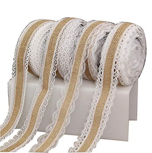 weimay Rolle Klebeband aus Sackleinen mit Spitzen-Verzierung Weiß für die Weihnachtsfeier der Hochzeit im Freien (2.2Yards)