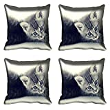 meSleep Cat Digital Kissenbezug, Bedruckt Set von 4PCS Grau Quadratisch Sofa Couch Taille Überwurf Betten Geschenk Décor Art Deco 16
