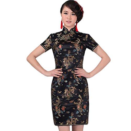 Hzjundasi Chinesisch Traditionell Drachen Phönix Brokat Performance Qipao Kleid Frauen Cheongsam Abendkleid XXL (Schwarze Brokat-kleid)