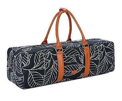 BAOSHA YG-01 Yoga Mat Bag Segeltuch Yogatasche Durchgehende Reißverschluss Tragetasche für Yoga, Pilates, Fitness und Gymnastikmatten mit Multifunktions Aufbewahrungstaschen