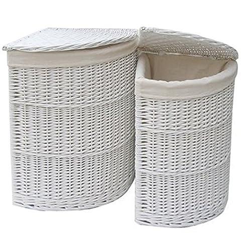 FunkyBuys® Grand panier de rangement panier à linge en osier blanc angle W/doublure Chiffon de Salle de Bain Maison