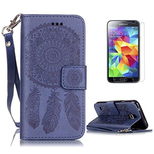 CaseHome for Samsung Galaxy S5 Custodia Cacciatore Libro Foglio Flip Magnetico Chiusura Costruito in Stand Full Body Protettivo Custodia PU Copertina Pelle Conchiglia per Samsung Galaxy S5-Blu