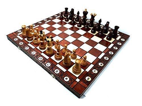 Prime Chess Ambassador Kirsche Hölzern Schachspiel 54cm / 21 Zoll Groß Premium Qualität -