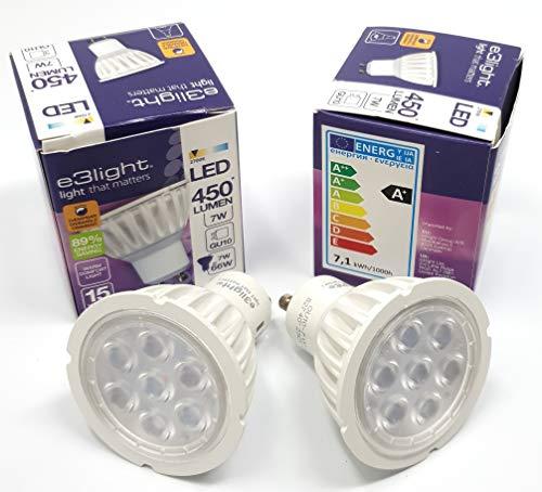 2er Pack dimmbare GU10 7W 66 W LED Birne warmes Komfort Licht Ersatz für Halogenlampen - 2700K - 450 Lumen - 89% Energiesparlampen von e3light -