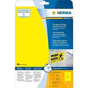 Herma 8033 Wetterfeste Signal-Schilder selbstklebend (auf A4 Bogen, Klebefolie matt, 210 x 297mm, strapazierfähig, stark haftend) 25 Stück, gelb