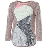 BEZLIT Mädchen Pullover 3D Motive Mütze Pulli Langarm Sweatshirt 21594, Farbe:Rosa, Größe:104