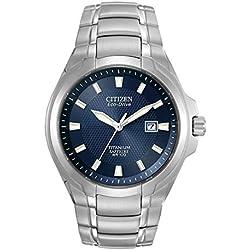 Citizen Men's Eco-Drive Watch with Black Dial Analogue Display and Titanium Bracelet, BM7170-53L