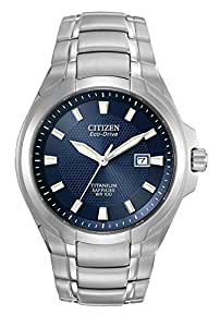 Citizen Men's Eco-Drive Watch with Dark Blue Dial Analogue Display and Titanium Bracelet, BM7170-53L