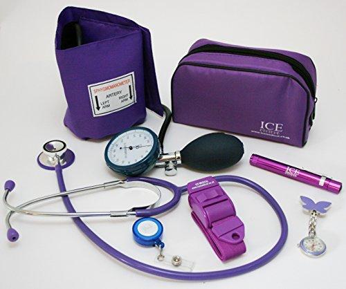 Kit médico con tensiómetro, monitor de presión sanguínea manual, estetoscopio, bolígrafo con luz...
