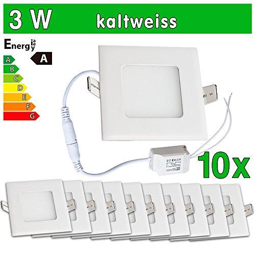 LEDVero SMD 2835  - Pannello LED, ultraslim, rettangolare, luce fredda, 3 W, Bianco, 10 pezzi
