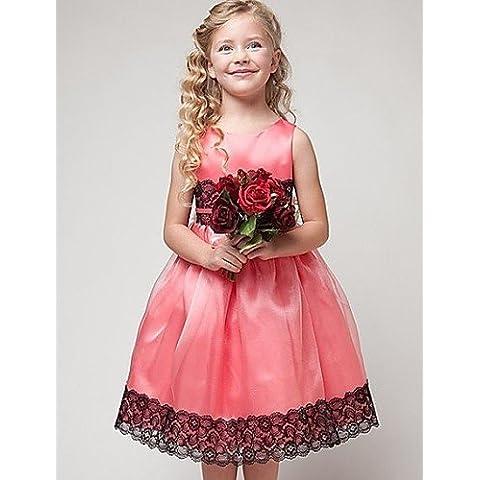 ZY/ Flower Girl Dress - Stile Principessa Lunghezza t¨¨ Senza Maniche Raso/Tulle , lightblue , child-8