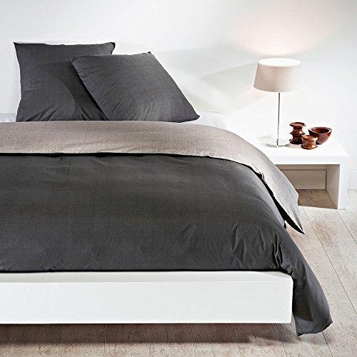 Bettwaren-Shop Wendebettwäsche hellgrau dunkelgrau Kissenbezug einzeln 40x40 cm