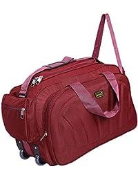 alfisha Lightweight Waterproof Luggage Travel Duffel Bag with Roller Wheels - RED