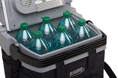 EZetil ESC21 Thermoelektrische Kühlbox für Outdoor Ausflug oder Picknick, einfacher Transport durch Tragegurt und Sitzgurtbefestigung, Seitenfächer für Equipment 12V