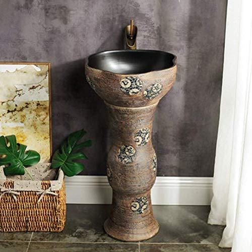 OHHG Retro Keramikbehälter Empfänger Säule Waschbecken Stand Antik Keramik Waschbecken Antikes Muster Einfach Mit Wasserhahn Set Zu Reinigen
