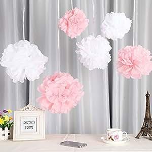 fanaticism 20er set seidenpapier pompoms wei rosa hochzeit party deko 25cm k che. Black Bedroom Furniture Sets. Home Design Ideas