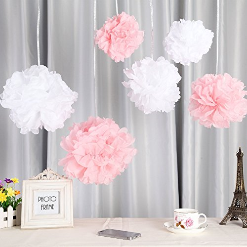 Seidenpapier PomPoms weiß rosa  Hochzeit Party Deko, 25cm (Tea Party Dekorationen)