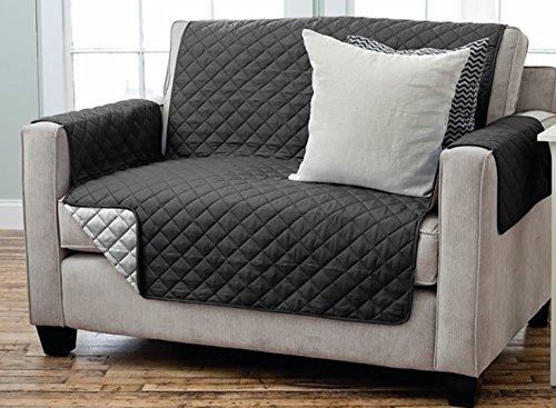 Sesselschoner Sofaschoner Sesselschutz Sofaüberwurf (2-Sitzer 191 x 224 cm, schwarz/anthrazit)