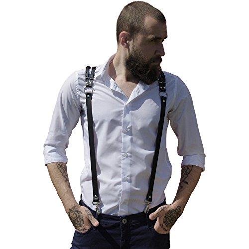 Homelex Herren Schwarz Leder Punk Y Hosenträger Harness Great Für Hochzeit & Party (LM-066) (Leder-harness Schwarze)