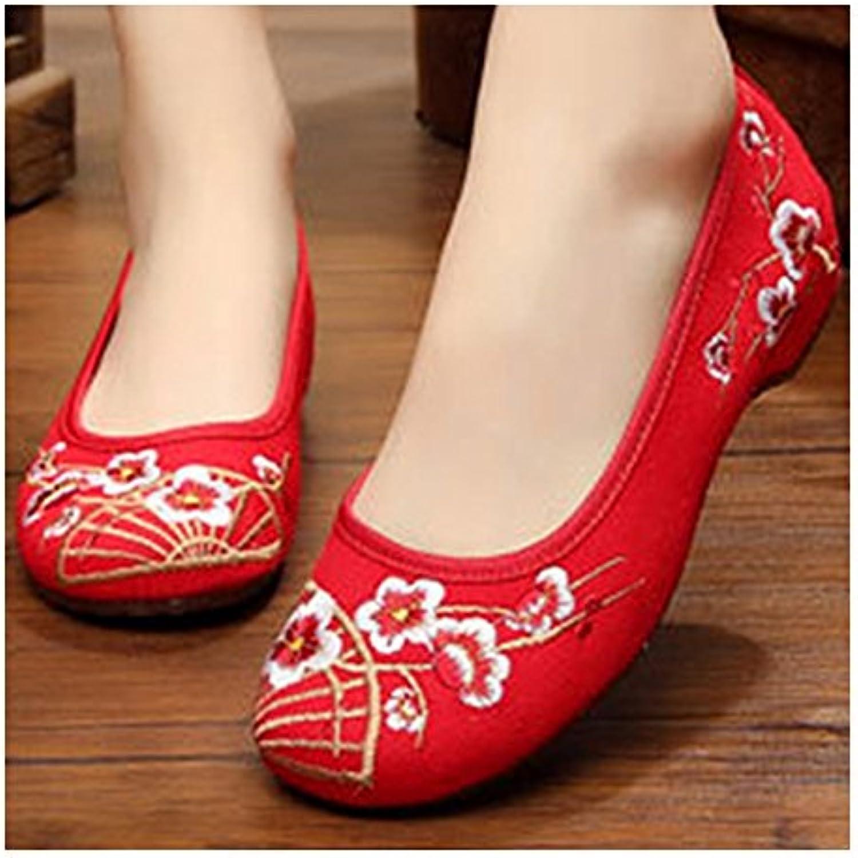 Bonitos y Elegantes Zapatos Bordados de Flores Ciruelos Rojo