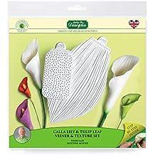 Calla Lily & Tulip Leaf juego de vena y textura de silicona, glaseado de pasta