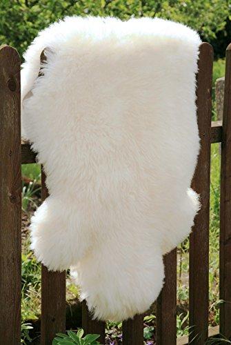 Öko Lammfell Schaffell weiß 100-110 cm echtes Fell ökologisch gegerbt (Schaffell Echtem)