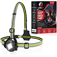 LUMEFIT Run Light, Running Light for Runners Chest LED Lamp - 90° Adjustable Beam Angle, 500 Lumen 360 Degree Reflective Band, USB Rechargeable - Front Body Torch Rear Safety Warning, Jogging Hiking