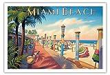 Pacifica Island Art Miami Beach, Florida - Vintage Retro Welt Reise Plakat Poster von Kerne Erickson - Kunstdruck - 76cm x 112cm