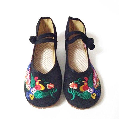 Colorato Fenice Ricamo Scarpe da Sposa Donne Mary Jane Ballerina Casalinga Baler Loafer Nero