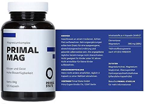 Magnesium Kapseln pur | PRIMAL MAG | Magnesiumcitrat und Magnesium Glycinat Pulver in Kapseln | Frei von Zusatzstoffen wie Magnesiumstearat oder Gelatine | Laborgeprüft | Trägt zu normaler Muskelfunktion bei - 120