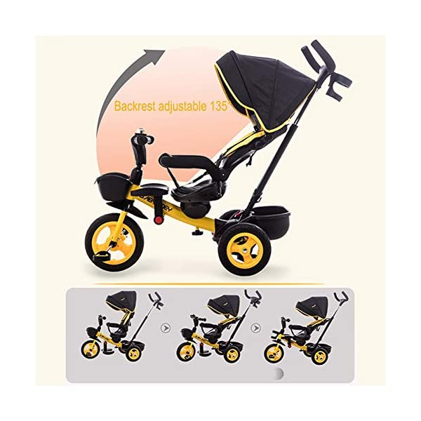 GSDZSY - Luxury 4 IN 1 Children Tricycle, Comfortable Adjustable Seat For The Baby To Sit Or Lie Flat, Removable Push Handle Bar,With Safety Fence,1-6 Years Old GSDZSY ❀ Material: High carbon steel + ABS + rubber wheel, suitable for children from 6 months to 6 years old, maximum load 30 kg ❀ Features: The push rod can adjust the height and control direction, the seat can rotate 360; the baby can lie flat, adjustable umbrella, suitable for different weather conditions ❀ Performance: high carbon steel frame, strong and strong bearing capacity; non-inflatable rubber wheel, suitable for all kinds of road conditions, good shock absorption, seat with breathable fabric, baby ride more comfortable 8