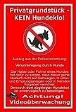 Schild –Privatgrundstück - Kein Hundeklo – Videoüberwachung – Polizeiverordnung – 15x10cm, 30x20cm und 45x30cm – Bohrlöcher Aufkleber Hartschaum Aluverbund -S00187-032-D