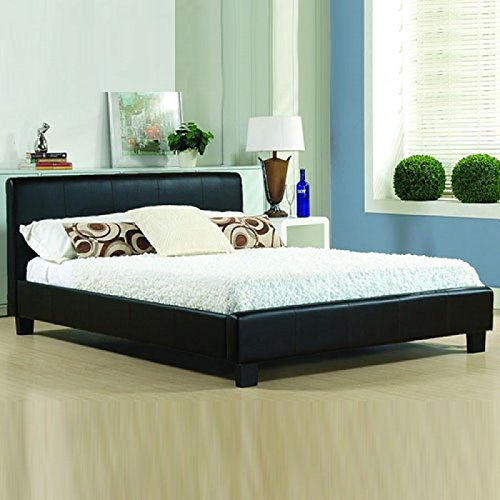 -[ Italian Modern Designer Bed Pavia/Prado - Available in 2 sizes and 2 Colours (4FT6 Double, Black