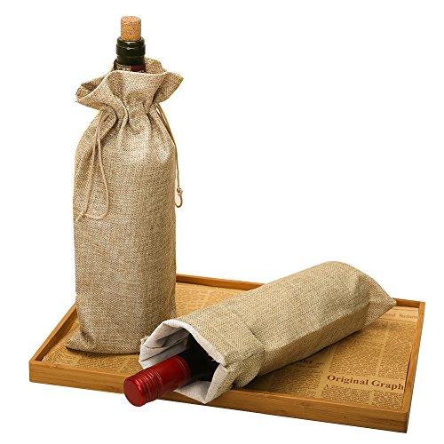 Bolsas de yute para botella de vino con cordón