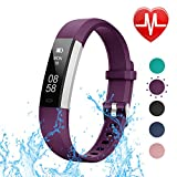 LETSCOM other ID115UHR Fitness Heart Rate, Slim Sports Activity, Waterproof Pedometer Watch with Sleep Monitor, Step Tracker for Kids, Women, and Men, Purple-X1