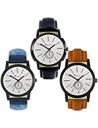 Talgo 2017 New Collection Foxter (combo Of 3) White Round Shapped Dial Leather Strap Fashion Wrist Watch For Boys... - B0763TFTRP