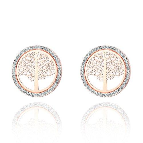 J.MeMi'S Legierung Kupfer Strass Ohrstecker Baum des Lebens für Frauen Valentines Gesschenk , rose gold (Ohrring Frauen Bäume Für)